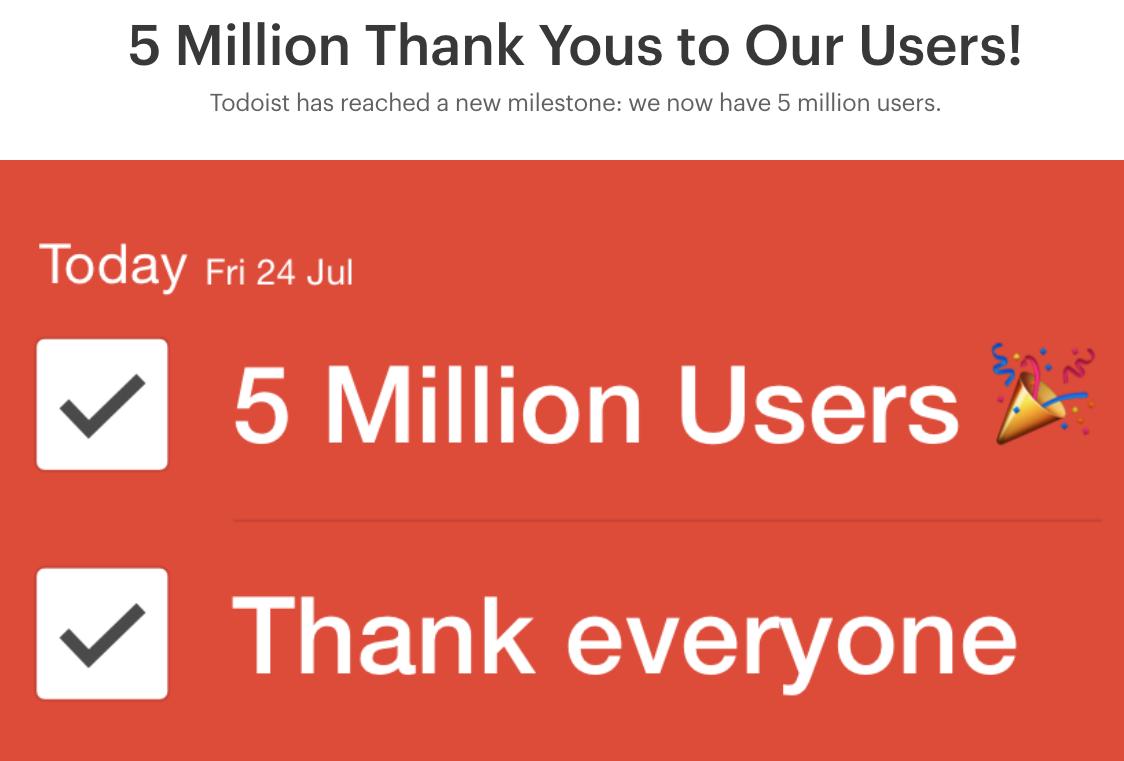Todoistは無料ユーザを含めれば1000万人を突破している